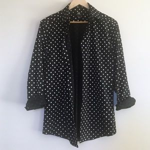 H&M slim fit polka dot button down shirt black